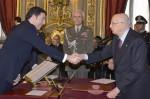 Il Presidente Giorgio Napolitano con Matteo Renzi corso del Giuramento