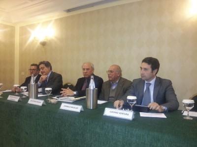 Conferenza Confindustria. Da sinistra Giansiracusa, Bonaccorsi, Bonura, Micalizzi, Ventura