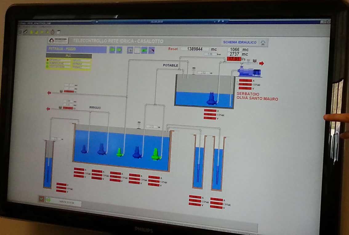 Il computer di monitoraggio dei pozzi gestiti da Casalotto