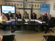 Incontro a Confindustria, da sinistra Elita Schillaci, Orazio Licciardello, Antonio Pogliese, Domenico Bonaccorsi, Antonello Biriaco, Rosario Faraci, Fabrizio Casicci