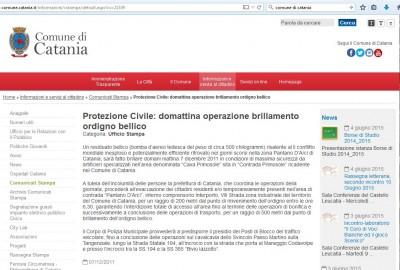 Comunicato Comune Catania del 2011