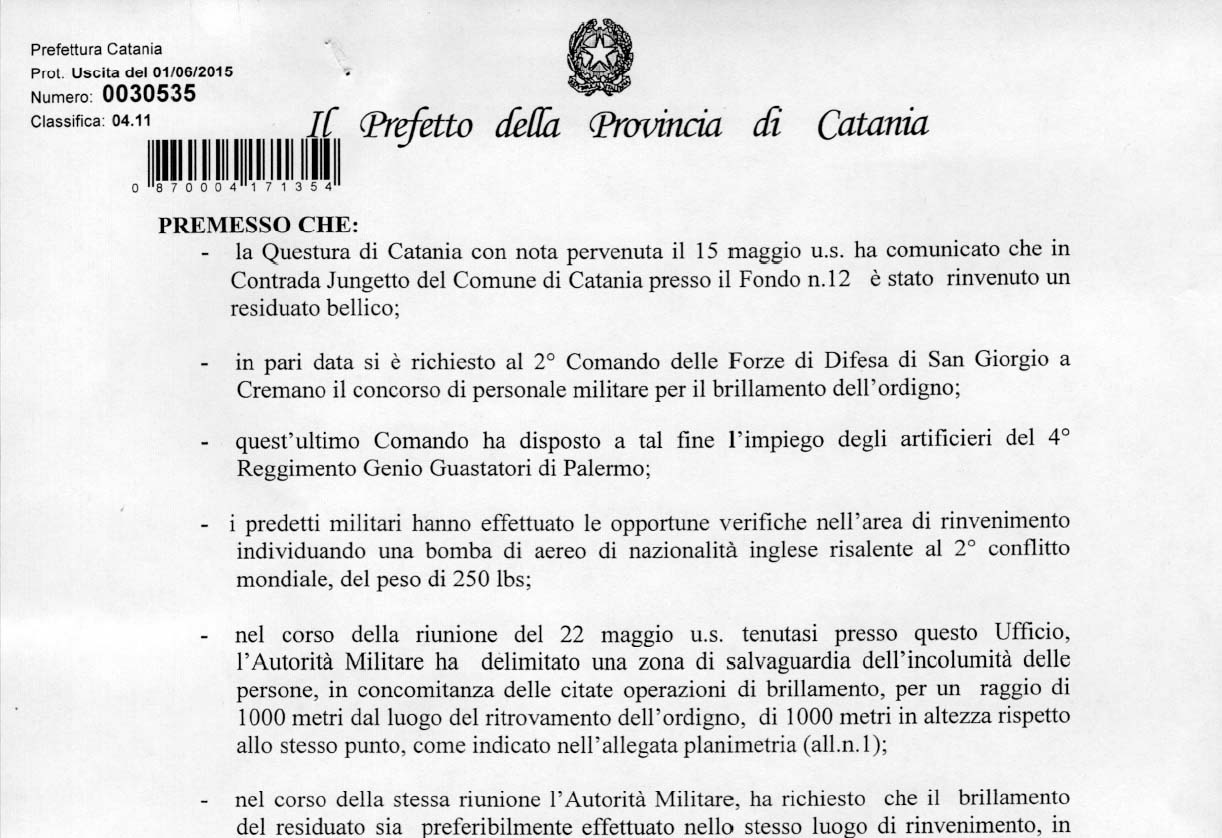 Il frontespizio dell'Ordinanza del Prefetto emessa in data 01.06.2015
