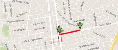 I lavori in Corso Italia tra piazza Verga e v.le Vittorio Veneto