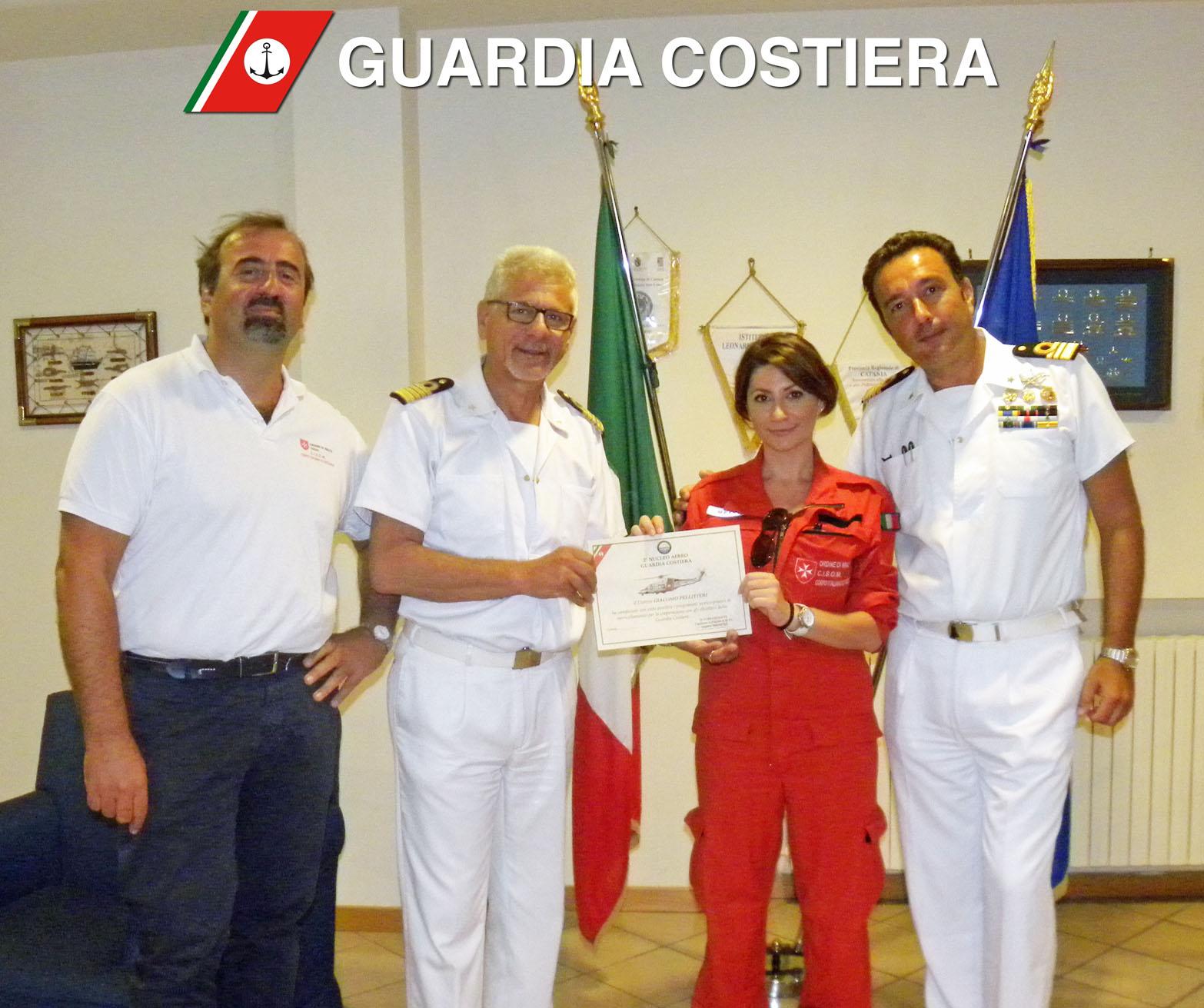 Da sinistra dott. Mauro Casinghini, Capitano di Vascello Alfio Distefano, dott.ssa Claudia Marino e Capitano di Fregata Roberto D'Arrigo