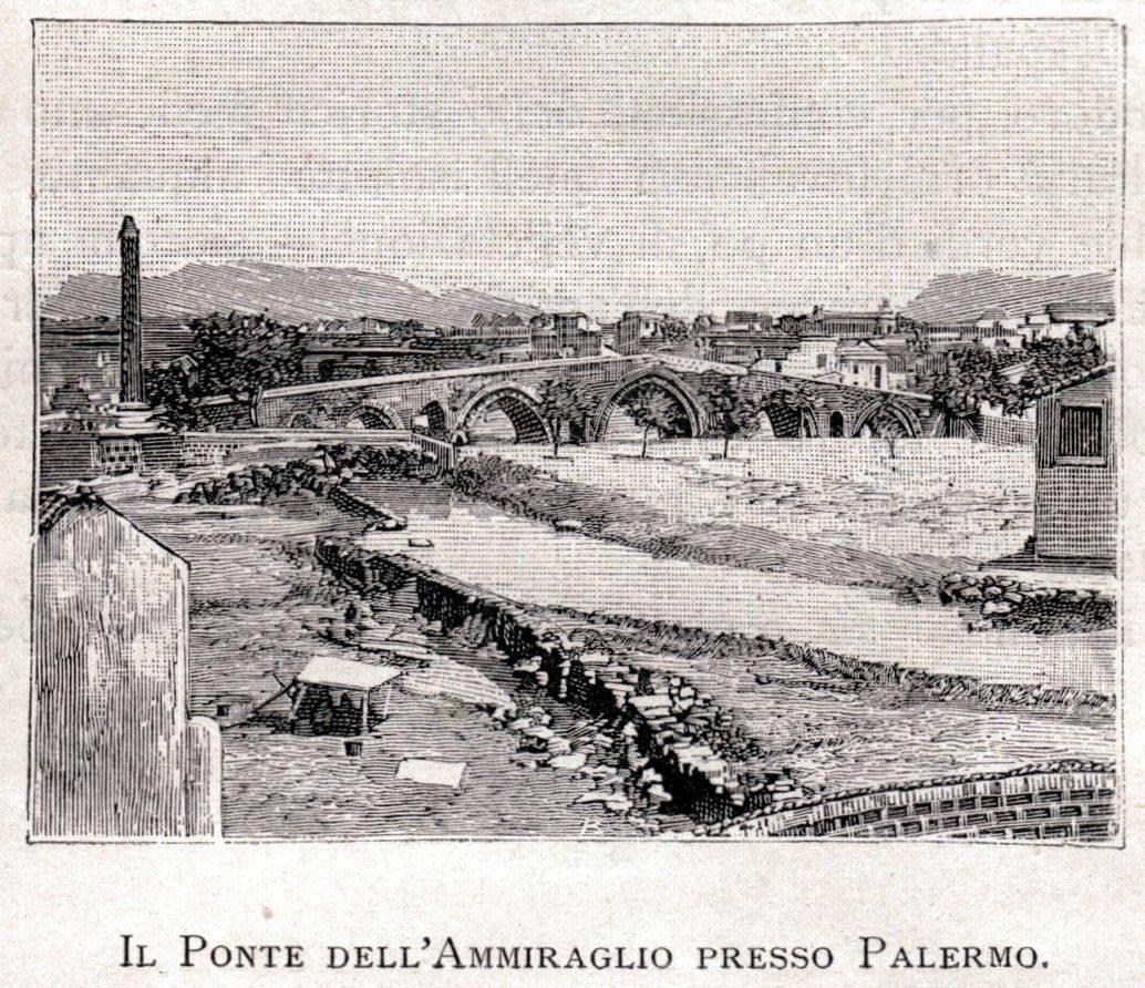 Palermo - Il Ponte dell'Ammiraglio, incisione originale (tiratura d'epoca) estratta da un libro italiano sulla Sicilia del 1892