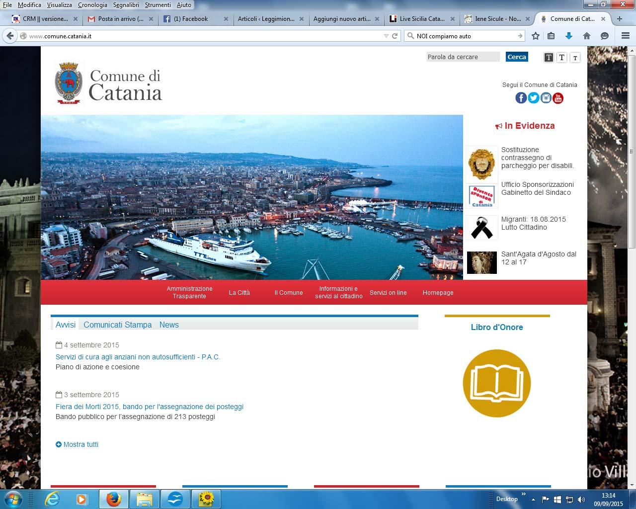 Home page sito comune di catania