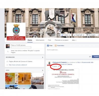 Pagina di Facebook del Comune di catania