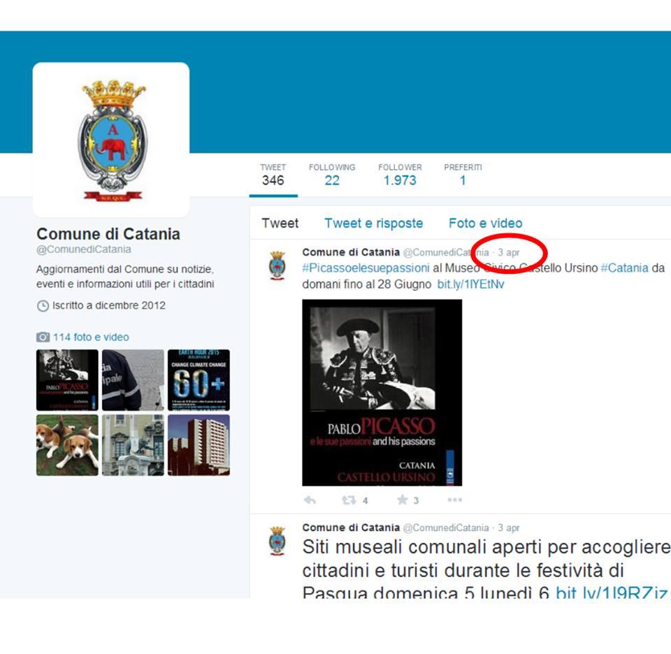 Pagina twitter Comune di Catania
