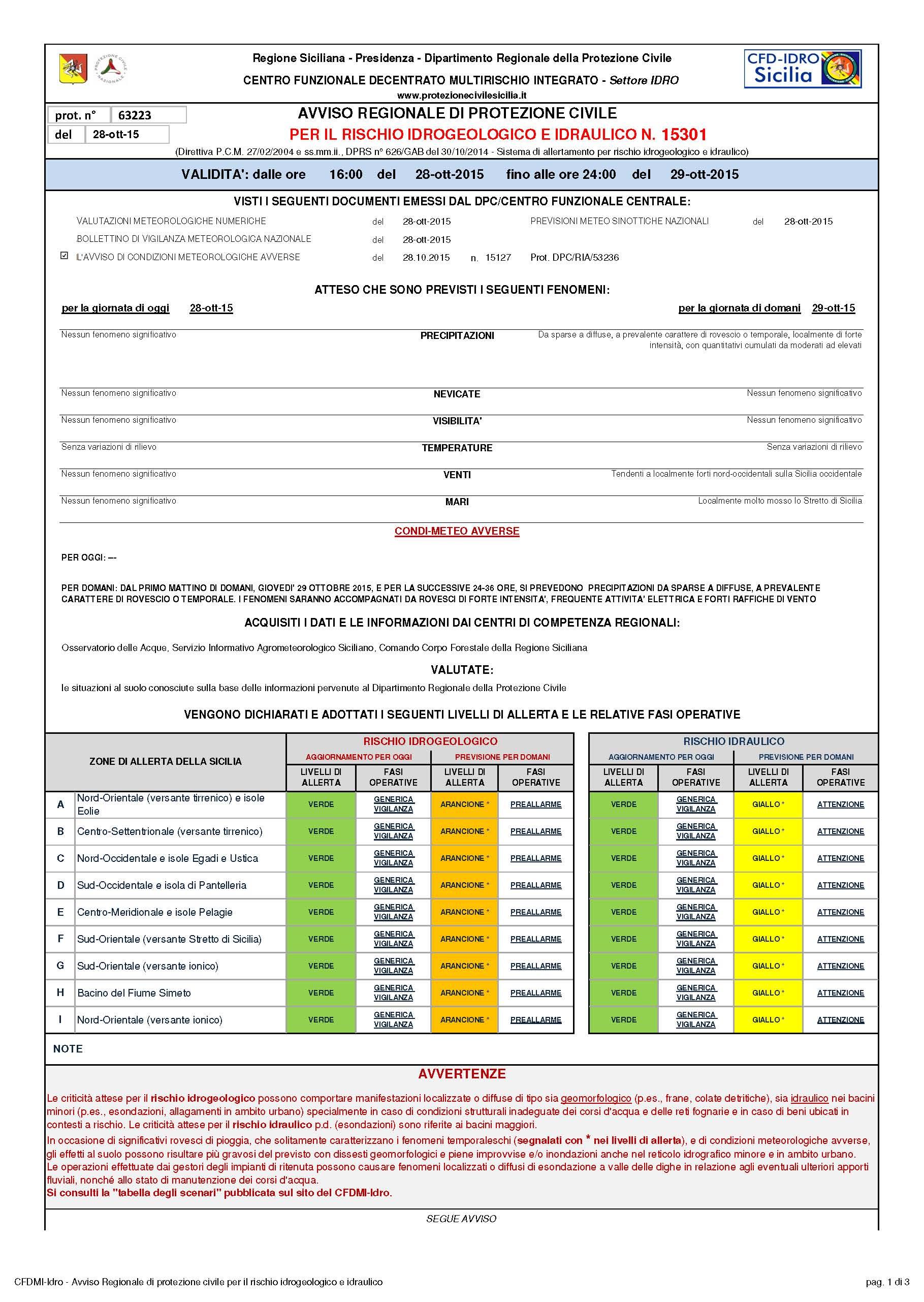 15301_AVVISO DRPC_2015_10_28_63223_Pagina_1 avviso protezione civile per 29.10.2015
