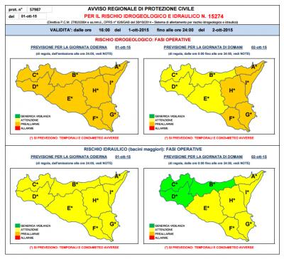 Bollettino Protezione Civile 01.10.2015