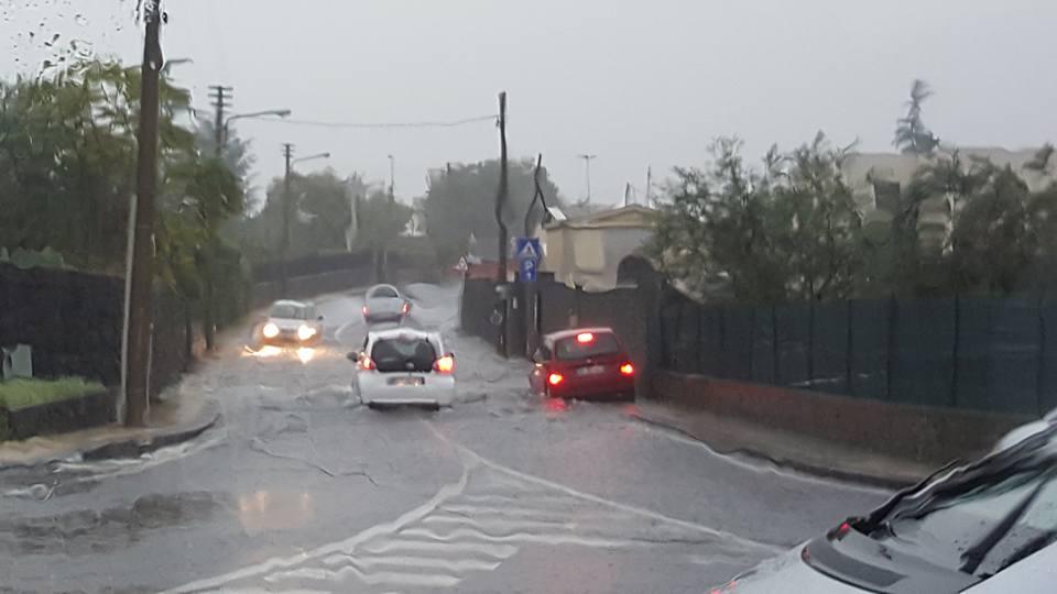 strade allagate a Trappeto