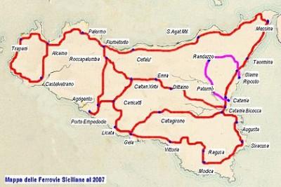 Mappa Ferrovie Sicilia aggiornata al 2007