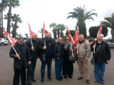Cocuzza con i sindacati e i carabinieri a Sigonella