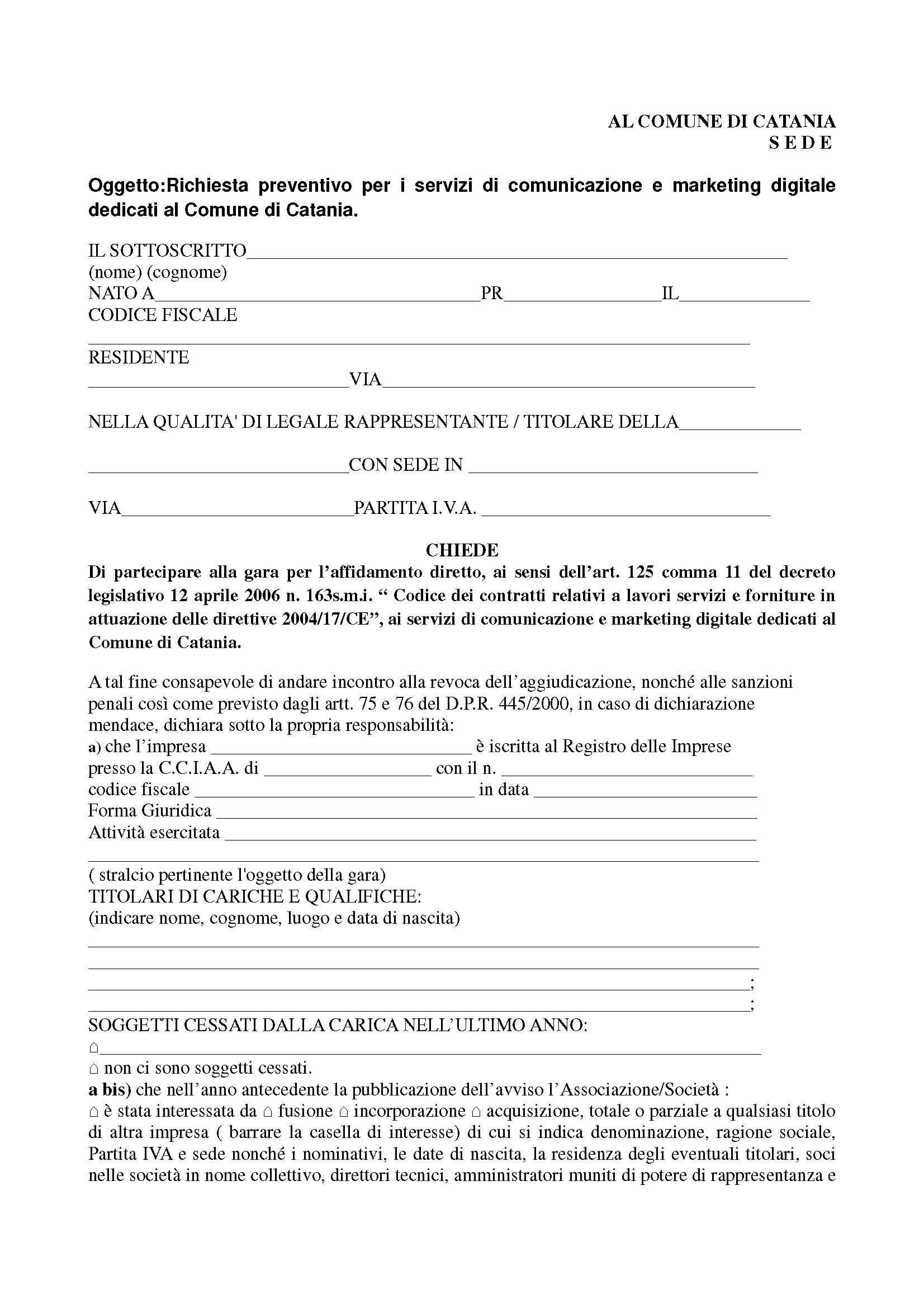 Preventivo di preventivo di massima dei costi with for Preventivo impianto elettrico pdf