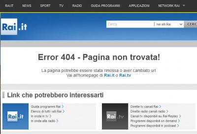 Sito Canone Rai error 404 particolare