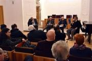 Sipari strappati, l'incontro organizzato da diversi professori universitari al Monastero dei Benedettini. Da sinistra:  Antonio Di Grado, Fernando Gioviale, Luciano Granozzi e Nino Romeo