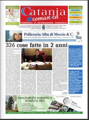 """La prima pagina di novembre del trimestrale del Comune """"Catania Comunica"""""""