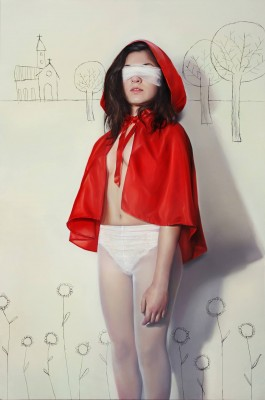 Elisa Anfuso, Attenta al lupo, 2013, olio e pastello su tela cm 80x120