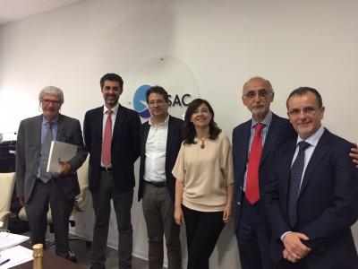 SAC, sx Giovanni Vinci (Cda Sac), Nico Torrisi (Sac), Roberto Vergari (Enac), Daniela Baglieri (Sac), Vincenzo Fusco (Enac), Rosario Dibennardo (cda Sac)