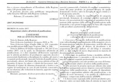 Decreto panificazione Regione Siciliana