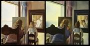 Dalí di spalle che dipinge Gala di spalle, resa eterna da sei cornee virtuali provvisoriamente riflesse in sei specchi veri, 1972 – 1973 © Salvador Dalí, Fundació Gala-Salvador Dalí, Catania, SIAE, 2018