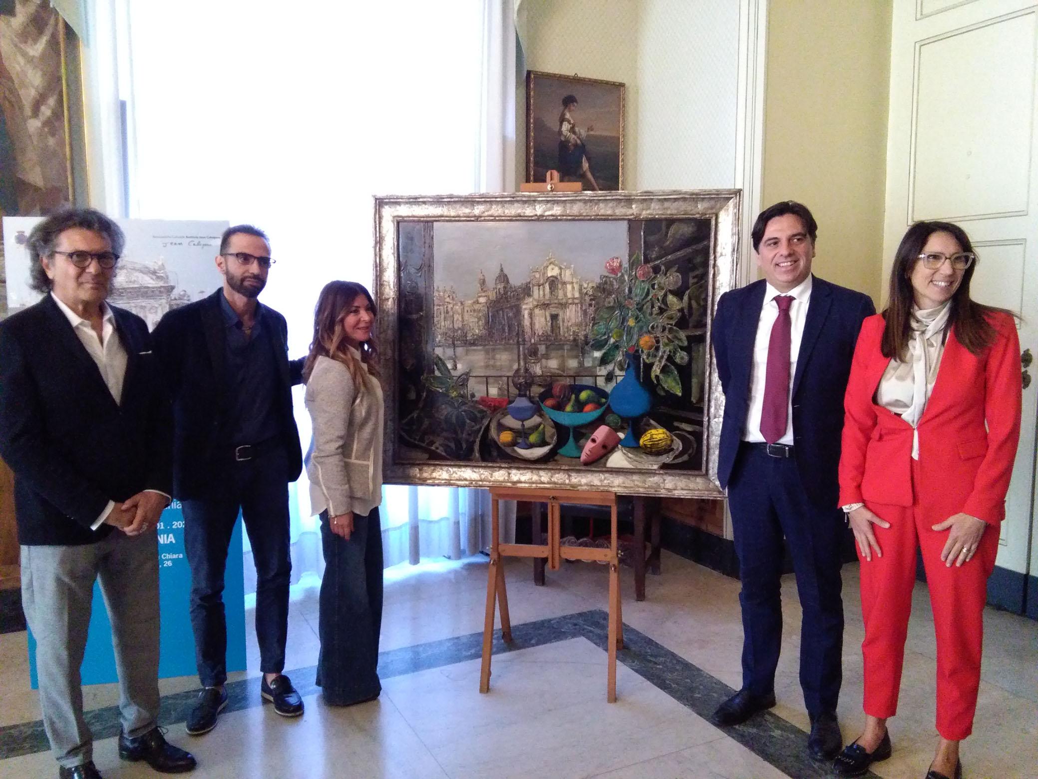 Gli eredi di Jean Calogero con il sindaco Pogliese e l'assessore Mirabella