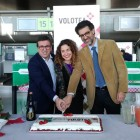 Da sx Francesco D'Amico, resp. marketing SAC, Valeria Rebasti, Commercial Country Manager Volotea, e Nico Torrisi, AD SAC