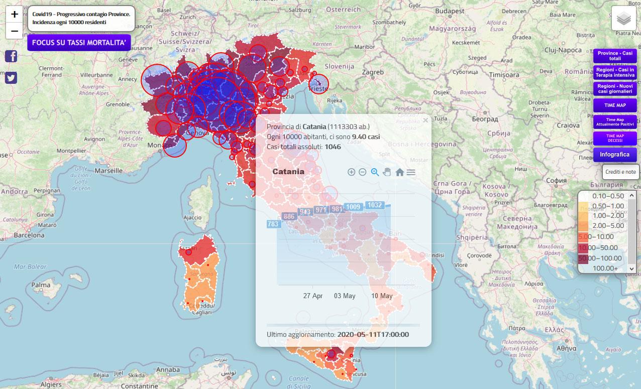 Andamento grafico dei contagi a Catania dal 20.04.20 al 11.05.20 (sito piersoft.it)