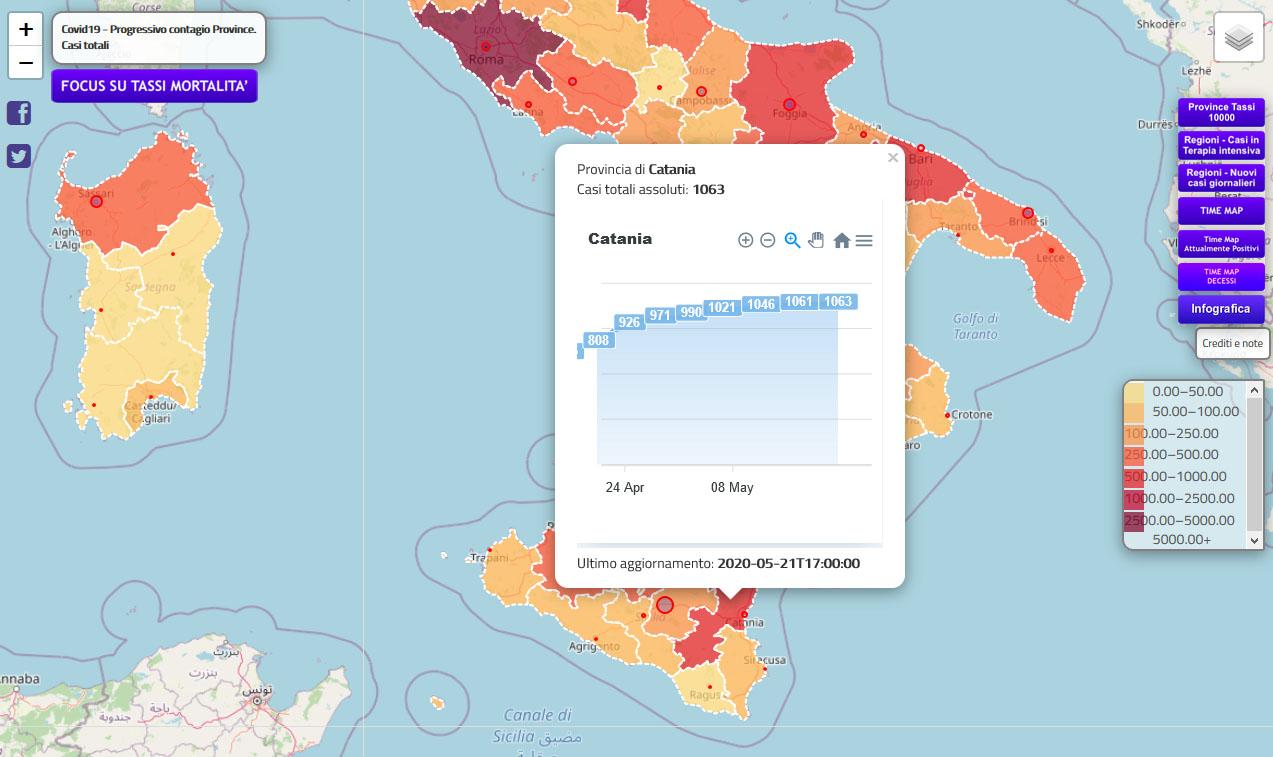 21.05.20 - Andamento dati Catania dal 20.04.20 al 21.05.20 (fonte piersoft.it)