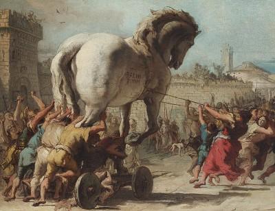 La processione del cavallo di Troia in un dipinto di Giandomenico Tiepolo (ph Wiki)