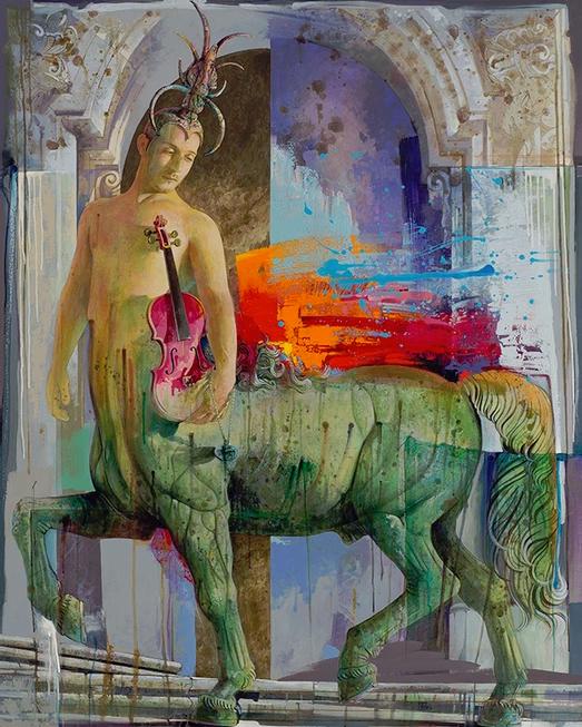 Centauro, acrilico su tela 120 x 150