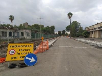 Il cantiere della nuova strada di collegamento con la stazione fontanarossa