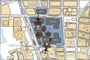 Impatto alle Torri Gemelle, mappa con aerei non in scala
